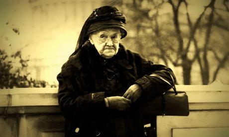 Senator Rebecca Latimer Felton stands in front of Capitol Hill in 1922